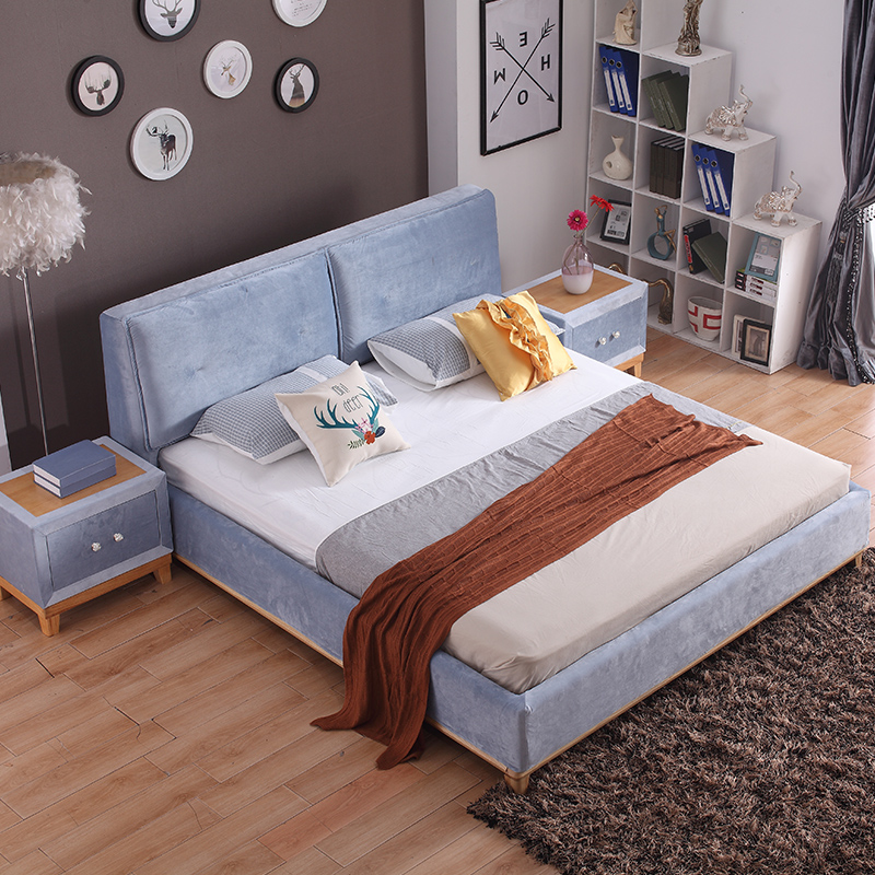 Nordic solid wood bed, modern marriage bed, simple Japanese style, soft small family bed, 1.5m1.8 meters, single and double cloth bed