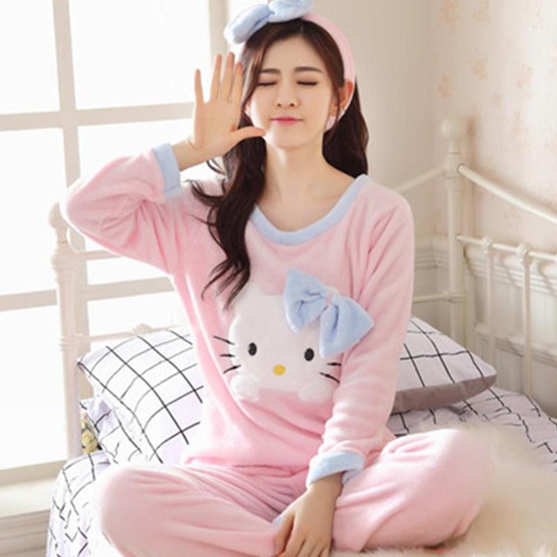 冬季加厚法兰绒睡衣女士长袖卡通三件套KT猫珊瑚绒睡衣家居服套装