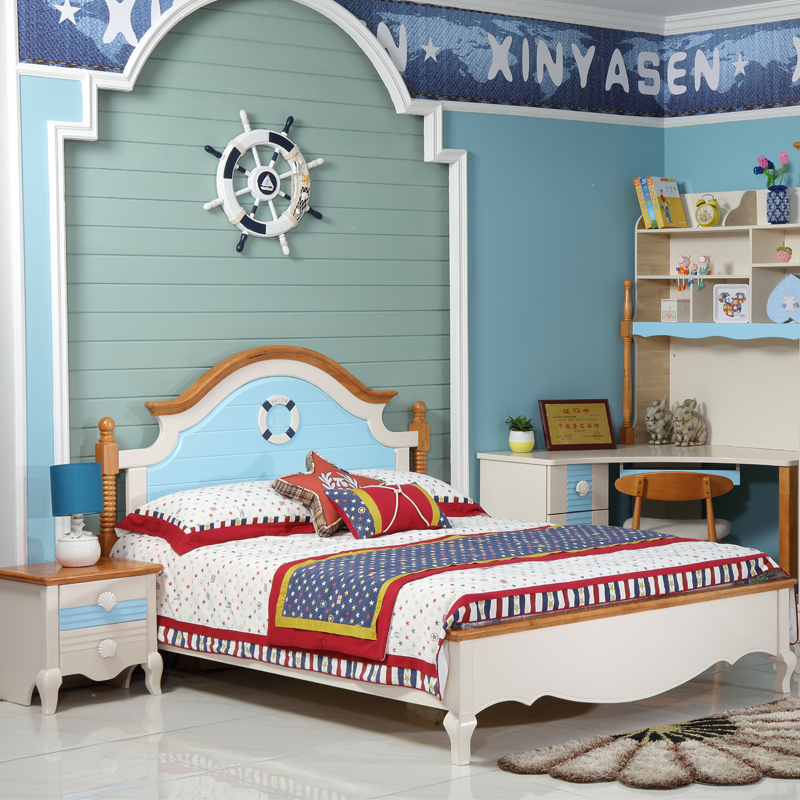 Children's beds, all solid wood beds, American beds, rubber, wood, solid beds, boys, Mediterranean furniture, hut in England