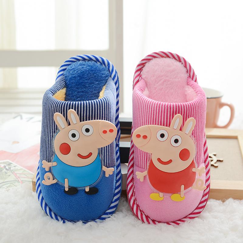 儿童棉拖鞋男冬季小猪佩琪男童女童宝宝拖鞋大中小童室内秋冬棉鞋