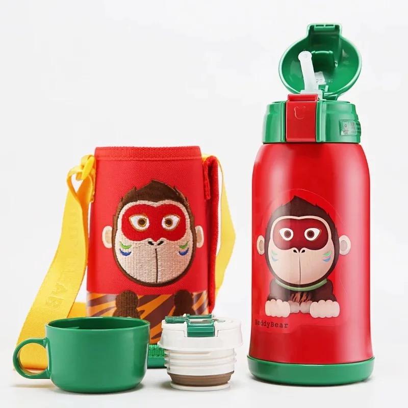 正品韩国杯具熊儿童保温杯带吸管两用不锈钢男女幼儿园防摔水杯壶