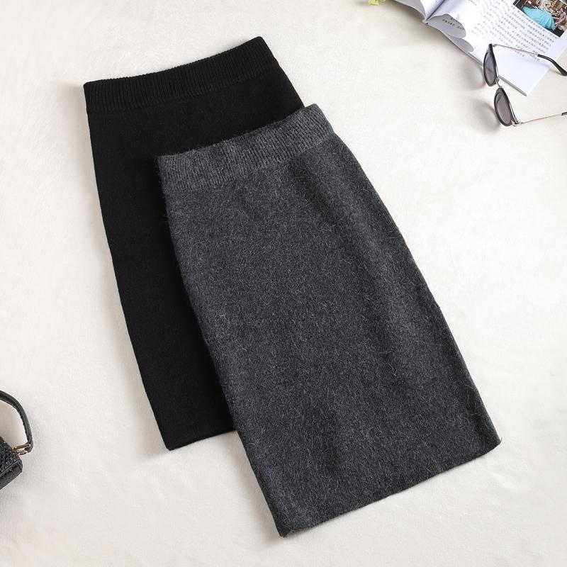 2017秋鼕加厚針織半身裙中長款包臀一步裙後開叉高腰修身毛線包裙