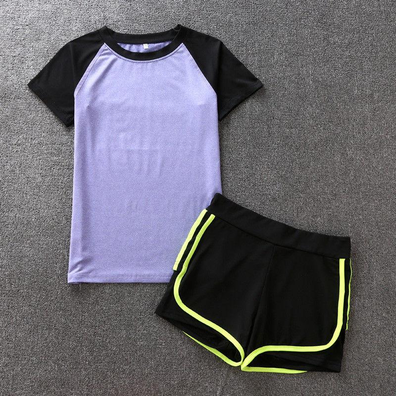 2件套(黑紫色T恤 绿边短裤)