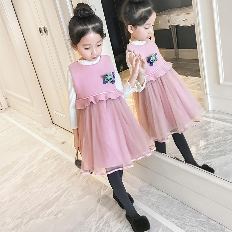 女童毛呢连衣裙冬装新款韩版中大童无袖公主纱裙儿童冬款背心裙子