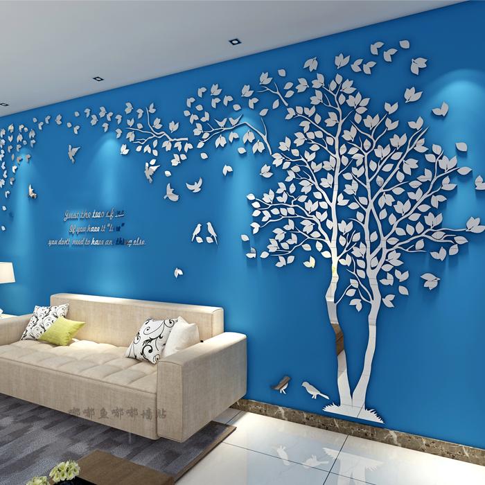 黑枝+淺綠,樹在左(小鳥款)小簡約大樹鳥3d鏡面立體墻貼客廳臥室沙發電視餐廳背景裝飾創意植物