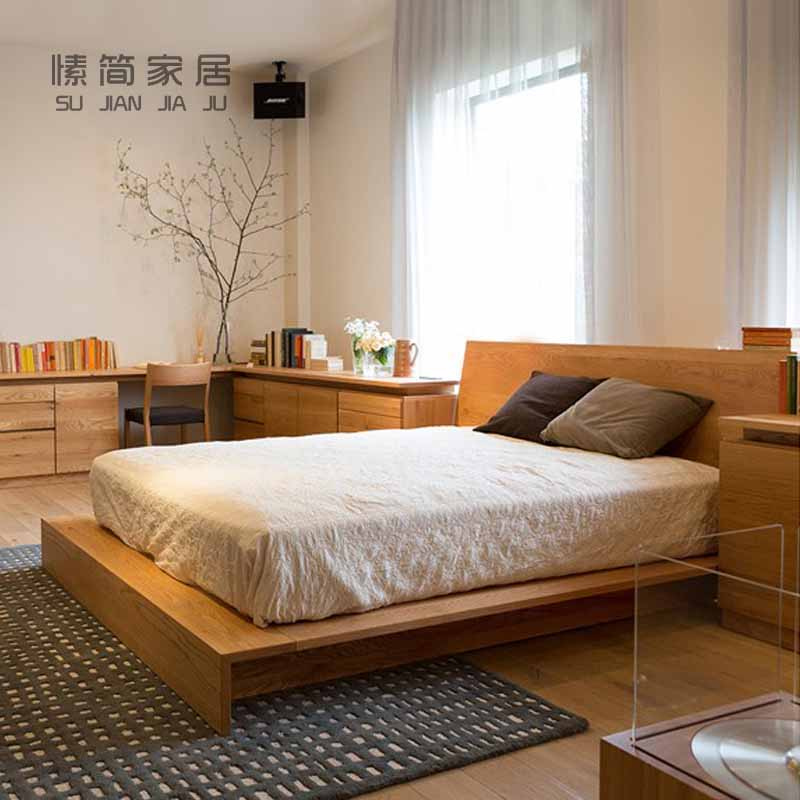 All Nordic tatami wood bed black walnut bed with simple modern style 1.5 meters 1.8 meters double bed