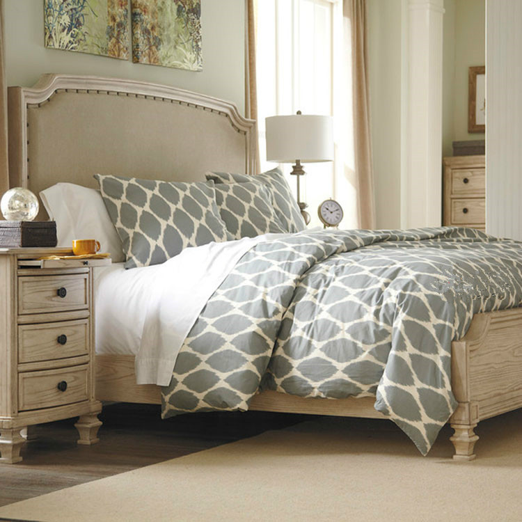 American country solid wood retro cloth, old soft bed European style villa, simple modern master bedroom double bed