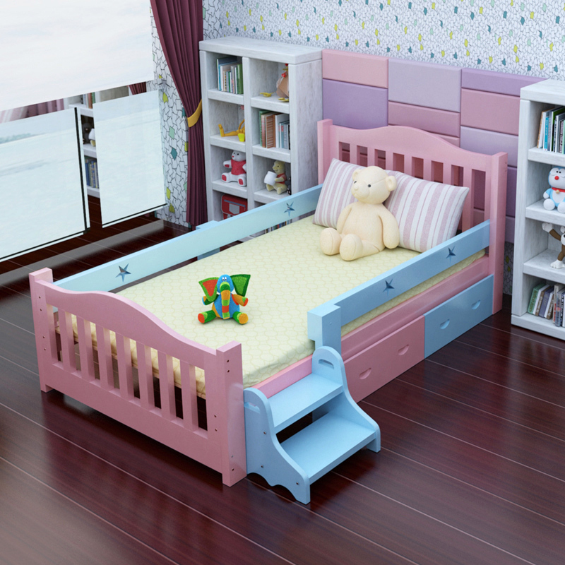 Children's bed girl Princess Pink Pink European style solid wood single cute 1.5 meters modern simplicity 1.2 double use