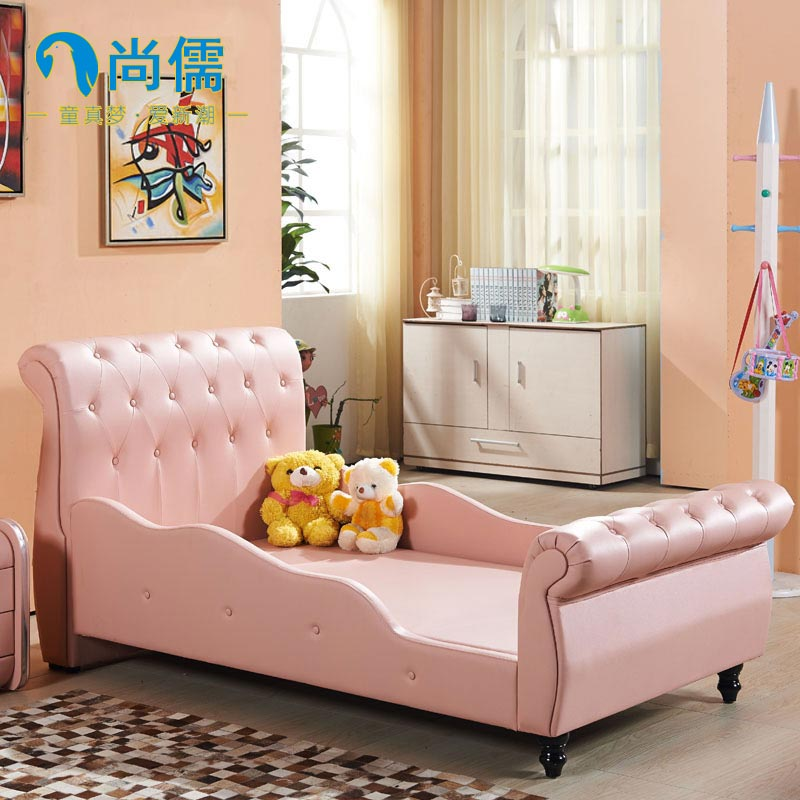 Children's leather bed teenagers cartoon 1.2 meters 1.5 meters boys and girls double bed creative software cartoon leather bed