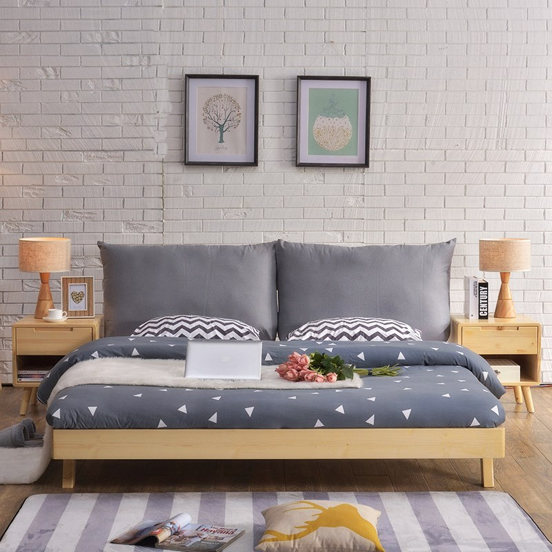 The bed is 1.5 meters 1.8 meters large-sized apartment double modern minimalist master bedroom by Japanese soft bed