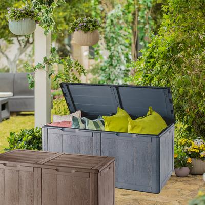 中款仿木纹塑料收纳箱储物杂物阳台环保北欧添置家具整体花艺著名