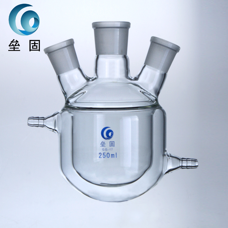 Three jacket jacketed reactor, 500ml24*24*24 double layer reactor, glass jacketed reaction flask
