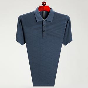 男装夏季新款中年男士短袖T恤薄款宽松大码体恤翻领爸爸装t恤