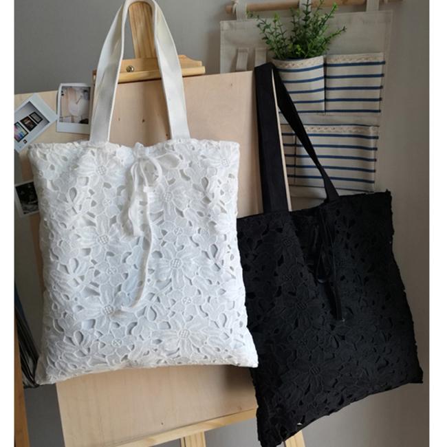 原创文艺布袋韩国帆布包女单肩包百搭小清新蕾丝包休闲女士手提包