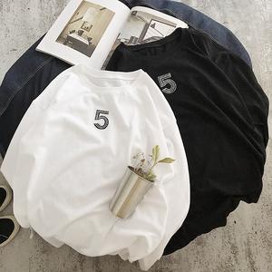 5''刺绣宽松长袖T恤 。C206-0121-P50