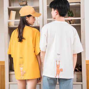 3626#實拍2018夏季新款純棉卡通五分袖T恤情侶裝短袖學生百搭班服