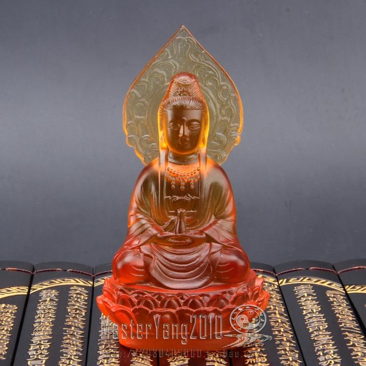黃色琉璃開光精工琉璃觀音菩薩神像擺件 招財鎮宅辟邪 佛像擺件