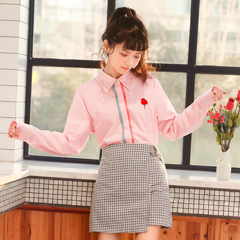 Áo sơ mi nữ dài tay mốt mới mùa xuân phong cách học sinh