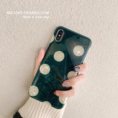 祖母绿波点iPhone苹果情侣手机壳