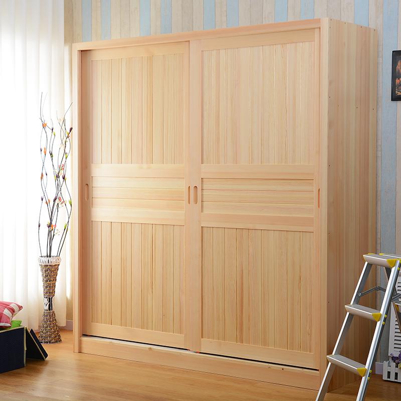 Ensemble poteau en bois de la porte coulissante de la porte coulissante l'armoire armoire porte deux à trois portes de placard de la protection de l'environnement de pin de la porte coulissante