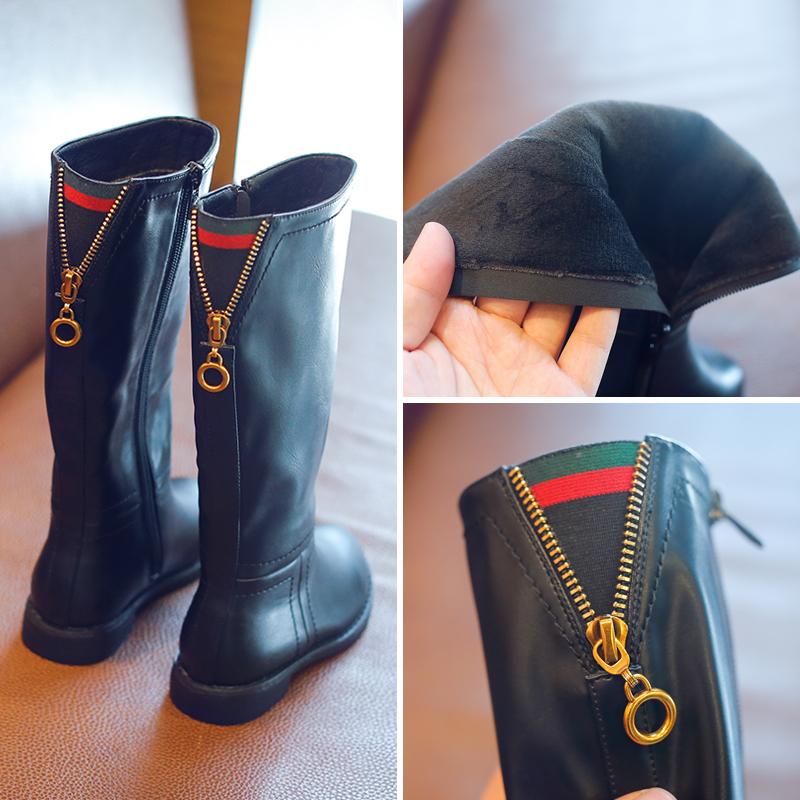 2017新款女童长筒皮靴秋冬季儿童鞋子韩版加绒公主长靴子马丁靴潮