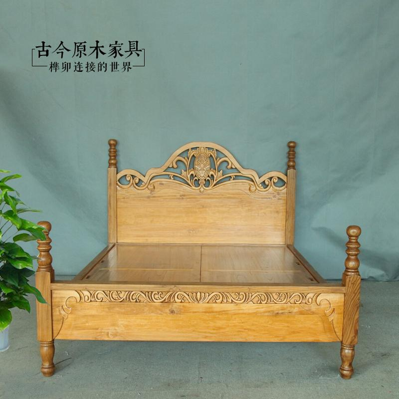Southeast Asian style wood double hard bed and log BD164-1 old elm Thai 1 meters 5 double bed