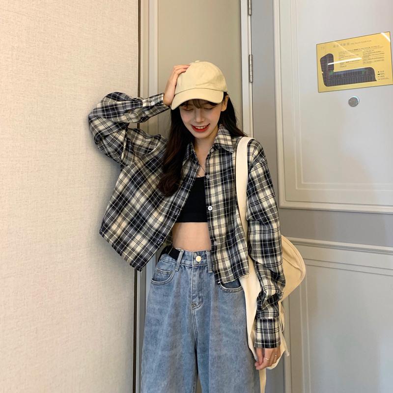 实拍实价~8635#新款韩版小众设计感复古格子短款衬衫夏季防晒衫