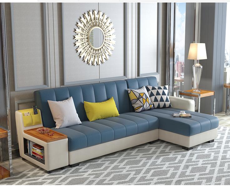 Credit Suisse sofá cama desmontable sencillo plegado alrededor de pequeñas unidades de almacenamiento moderna sala multiuso sofá