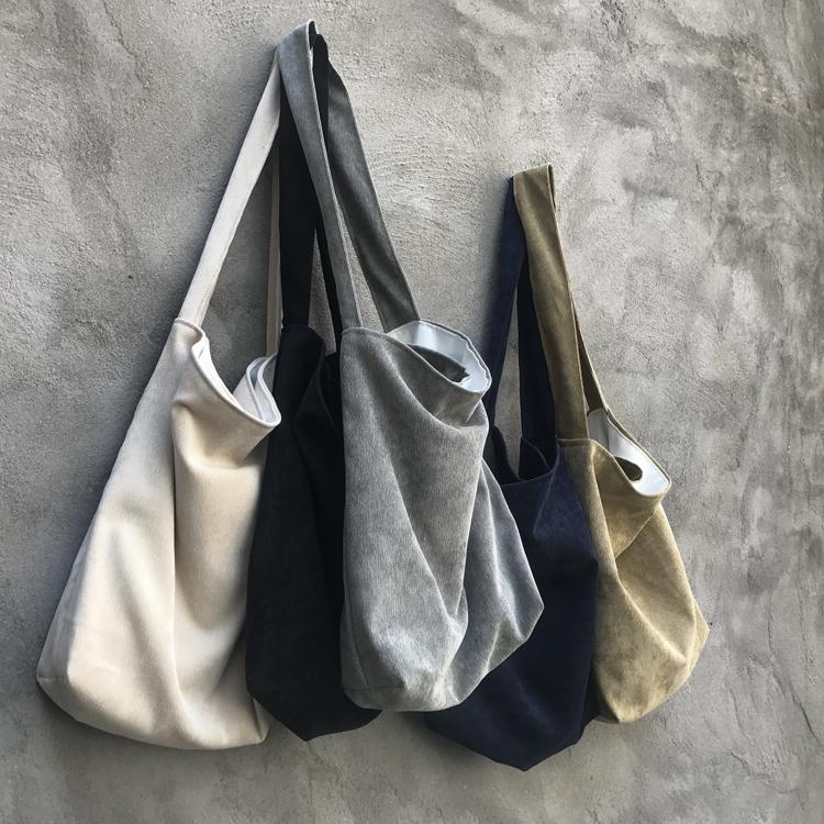 复古文艺布袋子女书包纯色灯芯绒单肩手提l包环保购物拉链袋