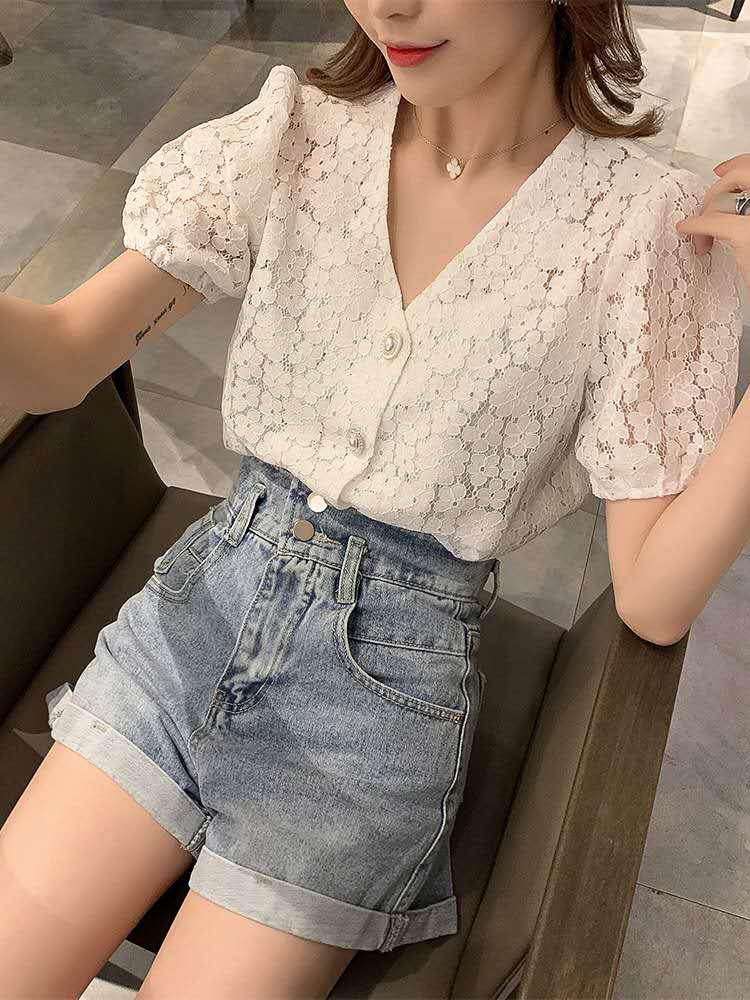 短袖蕾丝衬衫女夏...