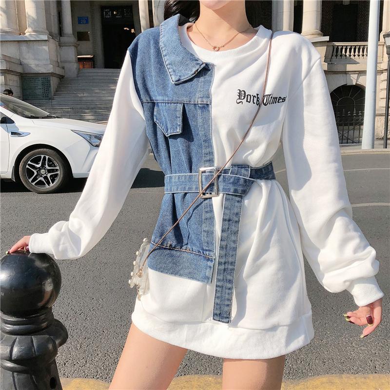 春季新款卫衣女韩版潮宽松学生时尚休闲中长款长袖牛仔拼接上衣潮