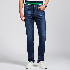 牛仔裤男轻商务弹力直筒修身小脚 苹果牛仔裤男士蓝色长裤W17005