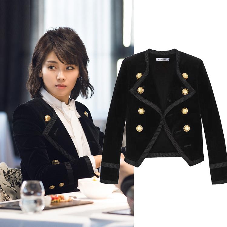 明星同款小西装女欧美秋冬新款小香风气质百搭时尚丝绒西服短外套