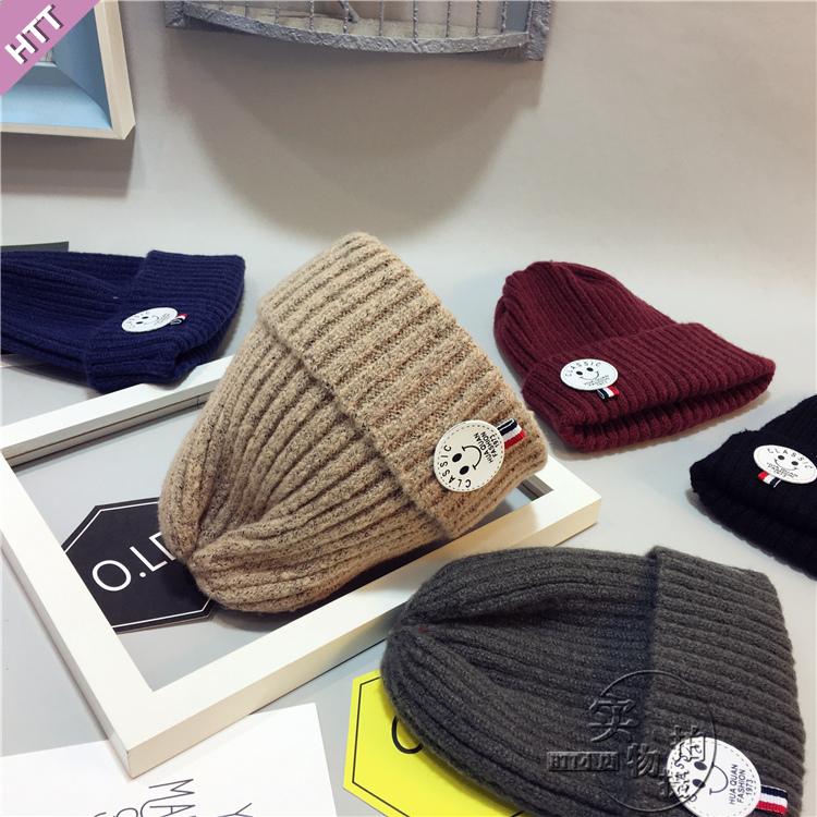 秋冬潮韩版婴儿童帽子男女童宝宝针织保暖毛线帽卡通小鹿套头帽子