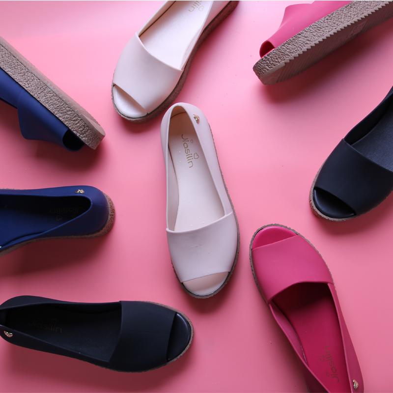 凉鞋女夏 中跟 果冻鞋鱼嘴凉鞋罗马鞋厚底松糕跟女凉鞋平底