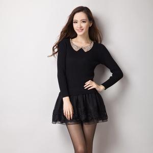 06新款泡泡袖连衣裙修身显瘦假两件毛衣女中长款蕾丝打底裙厚