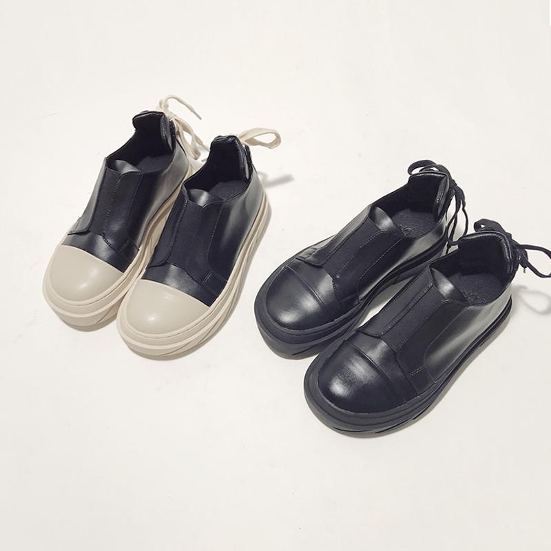 黑色大头皮鞋百搭韩版丑萌鞋女2017新款学生厚底鞋女船鞋松糕单鞋