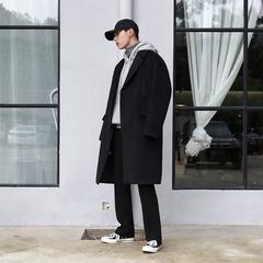 2018秋冬新款毛呢大衣男士韩版风衣中长款呢子大衣宽松落肩外套男
