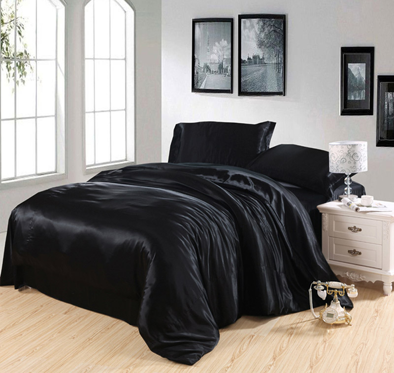 Four sets of silk silk satin sheets Tencel modal silky black simple and thin bedding