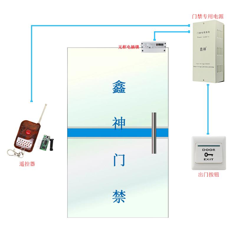 無枠ガラスドアの警備リモコン12無線警備スーツリモコンガラスドアロック電子システム