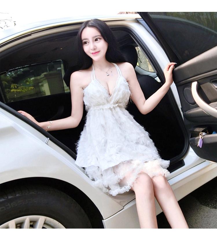 夏季新款女裝夜店氣質名媛性感低胸掛脖露背禮服連衣裙公主裙成人