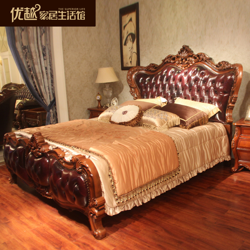 Leather double bed 1.8 meters, classical double bed, solid wood carving double bed, American village soft bed
