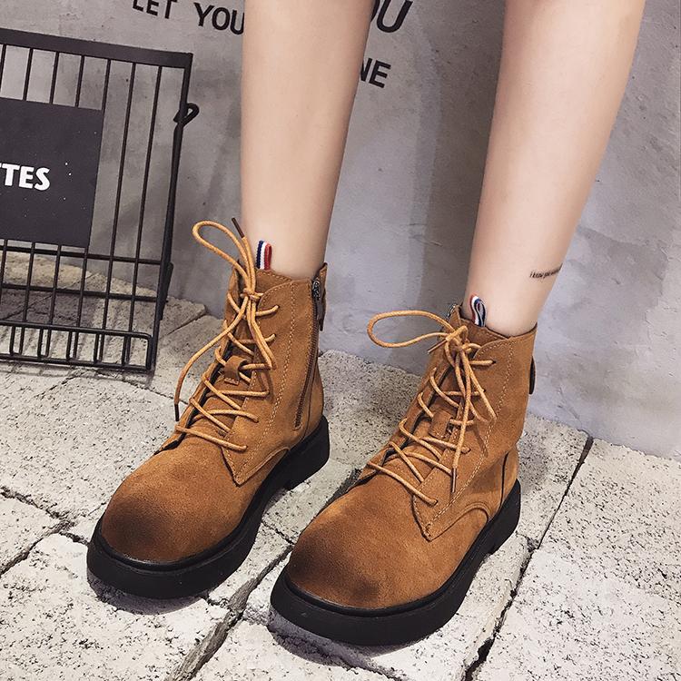 2017马丁靴女工装鞋潮系带百搭厚底磨砂军靴靴中跟短筒靴子秋冬季