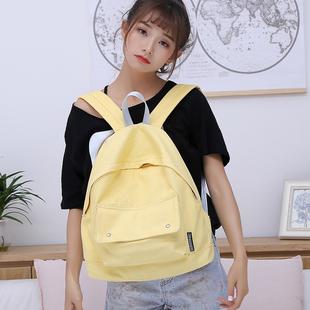 梵花不语新品文艺帆布双肩包女韩版学院风大容量背包书