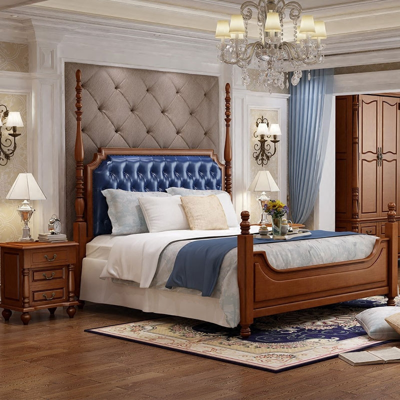 American style solid wood bed, 1.8 meters leather bed, double bed, wedding bed, princess bed, oak bed, high bed storage box