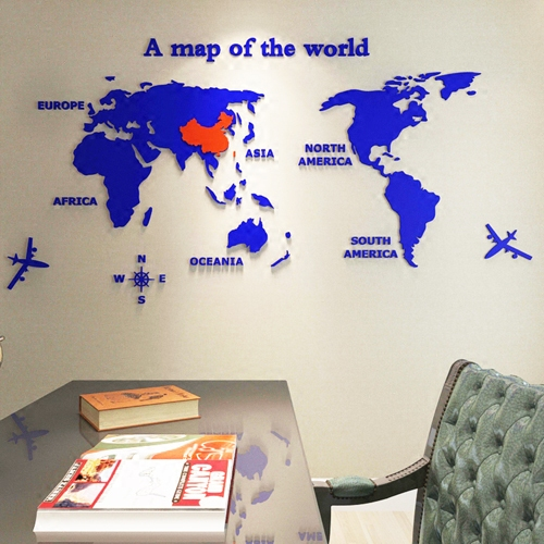 全淺藍色小3d亞克力世界地圖水晶立體墻貼地球辦公室勵志兒童房沙發背景墻