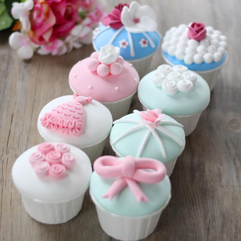 4個馬卡龍(小圓餅) 備注顏色仿真馬卡龍杯子假蛋糕紙杯生日蛋糕模型/cupcake/裝飾品創意擺件
