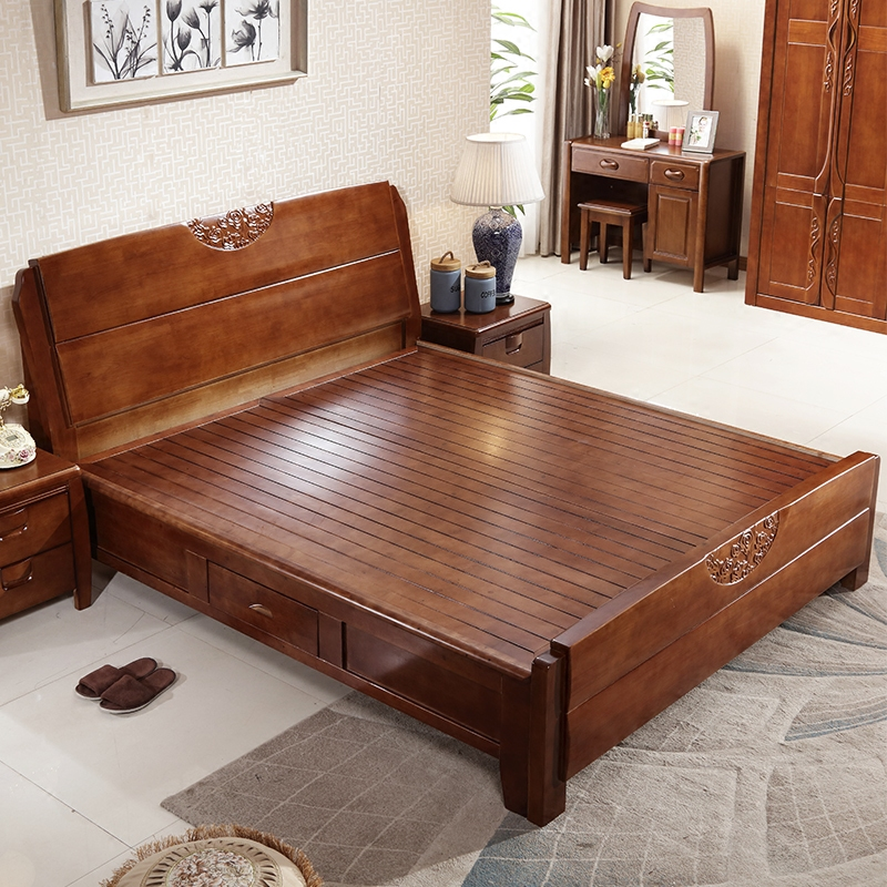 Chinese style solid wood bed, oak bed, 1.5 meters, 1.8 meters double bed, high box storage bed, bedroom suite, wedding bed special price