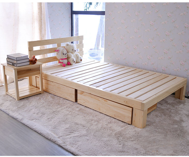 Shipping special offer single bed double bed children wood flat bed bed tatami can be customized for adult pine boy