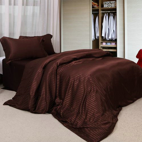 Silk slip package, pure color silk stripe Satin bed, four sets of silk like bedding, bed sheet, coffee color